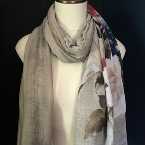 Accessories - Beige Floral Print Lightweight Oblong Scarf